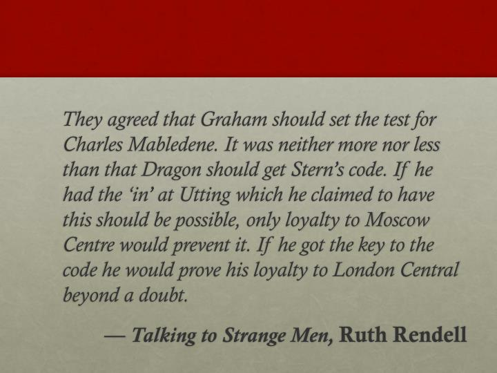 They agreed that Graham should set the test for Charles Mabledene. It was neither more nor less t...
