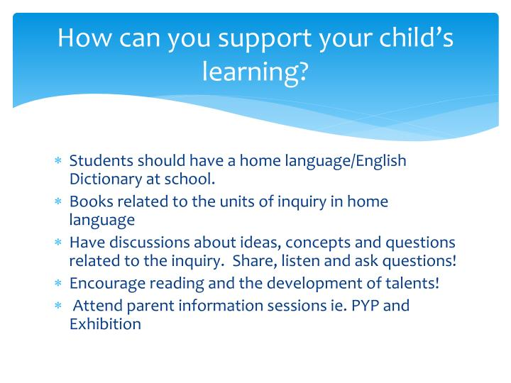 How can you support your child's learning?
