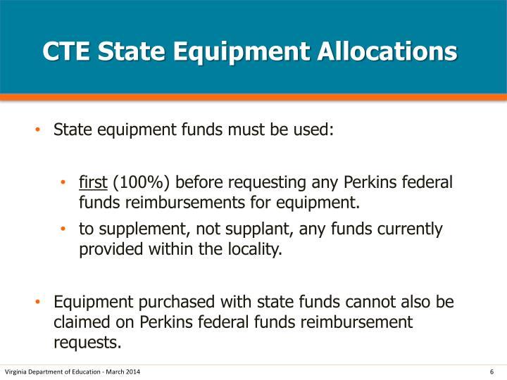 CTE State Equipment Allocations