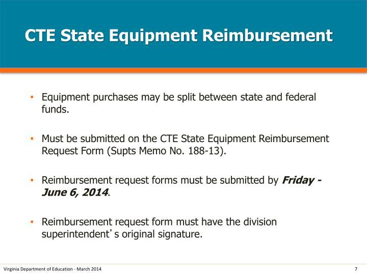 CTE State Equipment Reimbursement