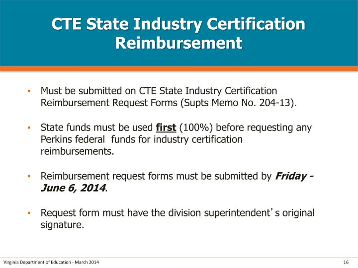 CTE State Industry Certification Reimbursement