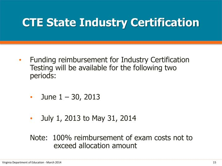 CTE State Industry Certification