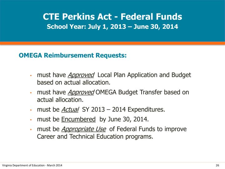CTE Perkins Act - Federal Funds