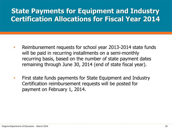 State Payments for Equipment and Industry Certification Allocations for Fiscal Year