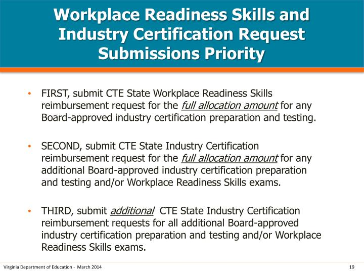 Workplace Readiness Skills and Industry Certification Request Submissions Priority