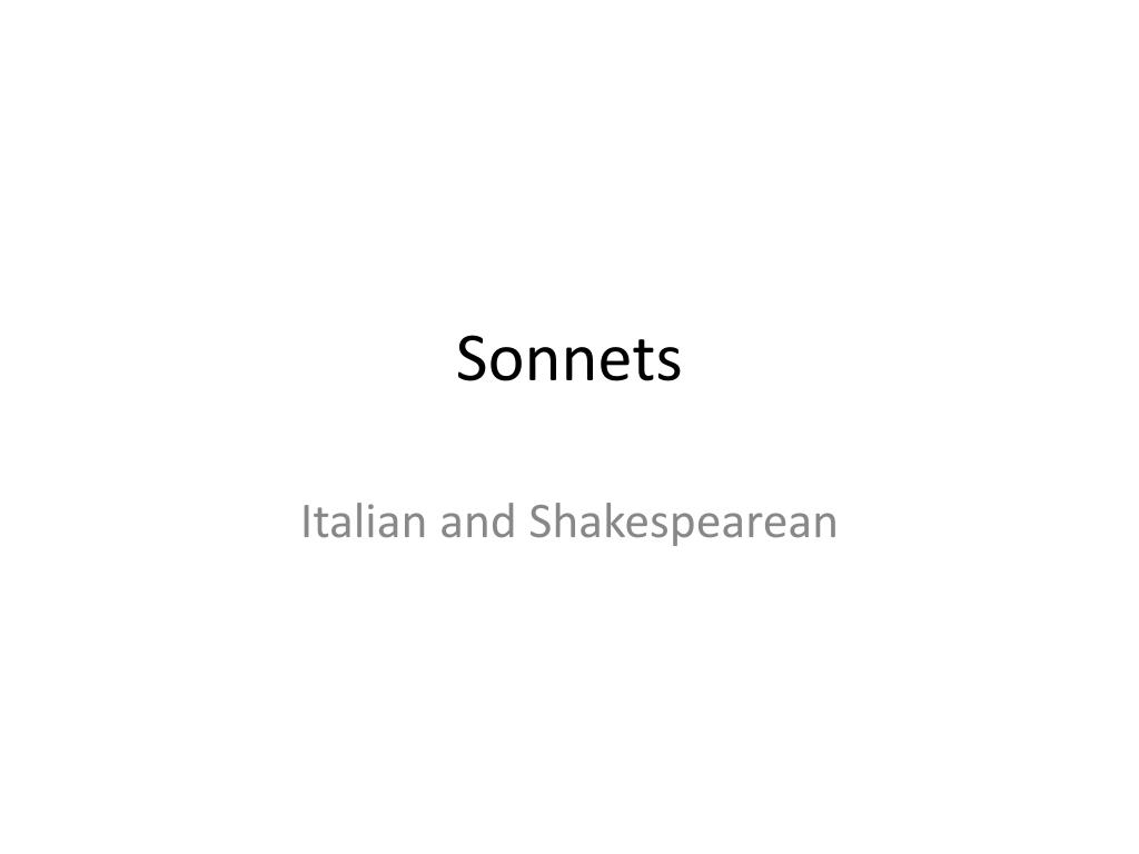 PPT - Sonnets PowerPoint Presentation - ID:1983306