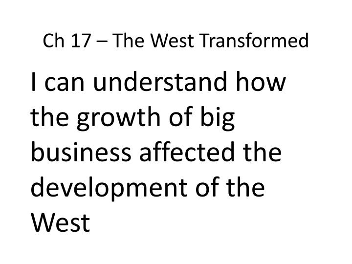 ch 17 the west transformed n.