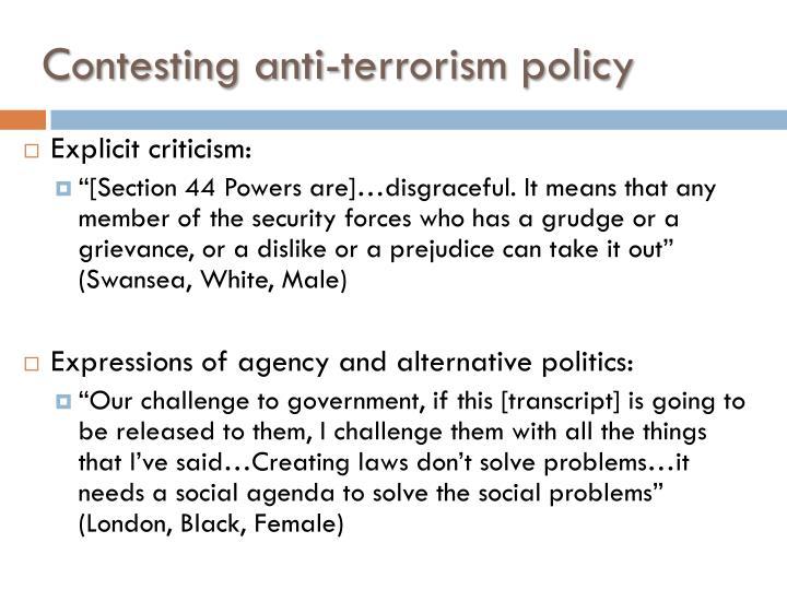 Contesting anti-terrorism policy