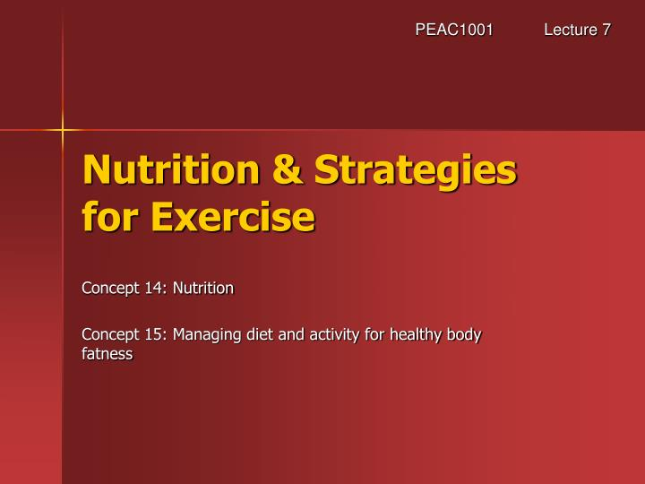 Nutrition strategies for exercise