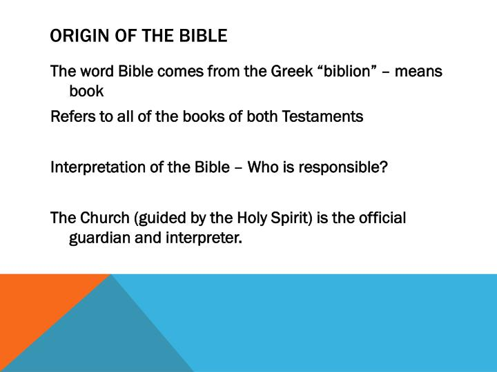 the different interpretations of the holy bible The school of alexandria adopted the allegorical interpretation of the holy scripture, believing that it hides the truth and at the same time reveals it it hides the truth from the ignorant, whose eyes are blinded by sin and pride, hence they are prevented from the knowledge of the truth.
