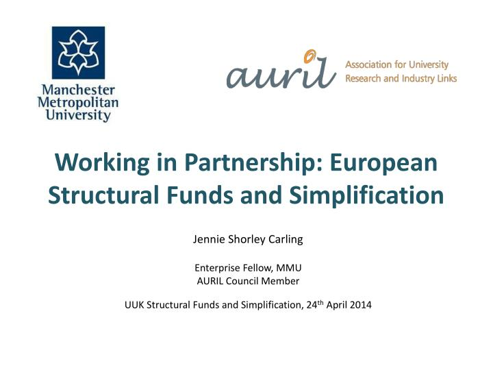 Working in partnership european structural funds and simplification