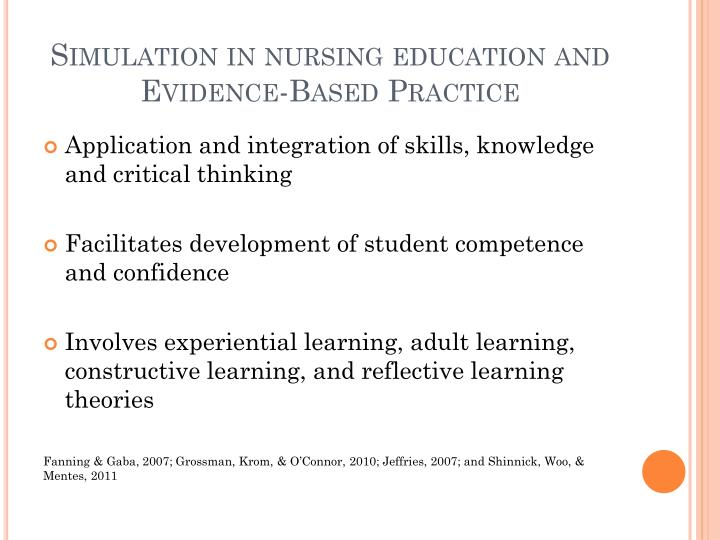Simulation in nursing education and Evidence-Based Practice