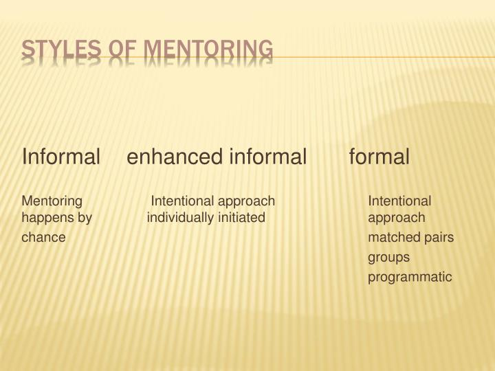 Informal enhanced informal     formal