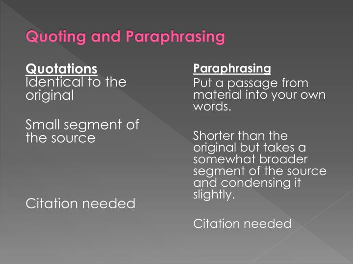 Quoting and paraphrasing