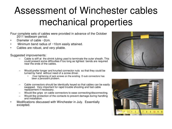 Assessment of Winchester cables mechanical properties