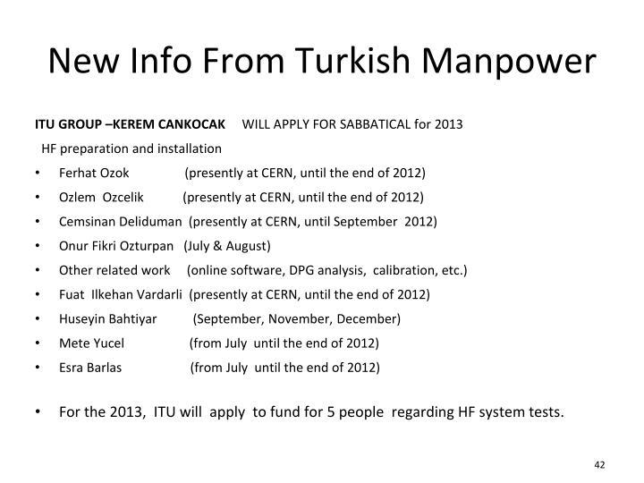 New Info From Turkish Manpower