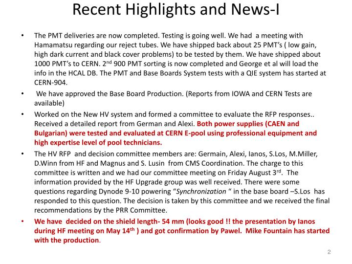 Recent highlights and news i