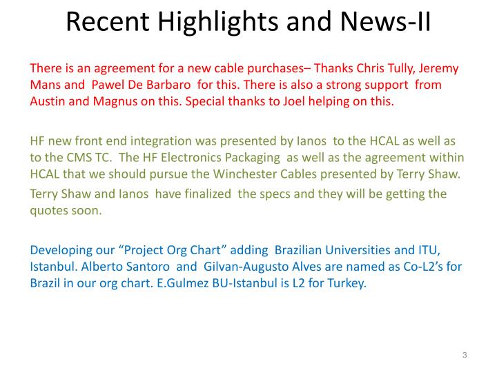 Recent highlights and news ii