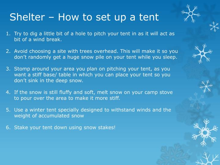 Shelter – How to set up a tent
