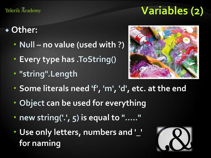 Variables (2)