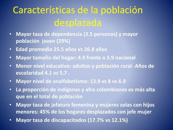 Características de la población desplazada