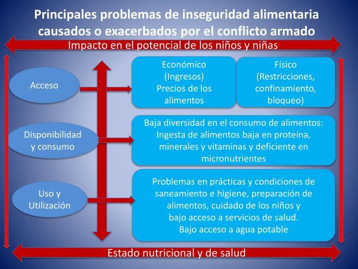Principales problemas de inseguridad alimentaria causados o exacerbados por el conflicto armado