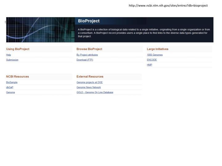 http://www.ncbi.nlm.nih.gov/sites/entrez?db=bioproject