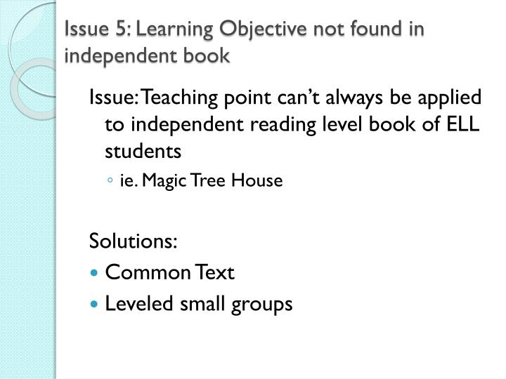 Issue 5: Learning Objective not found in independent book