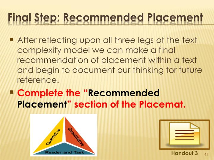 After reflecting upon all three legs of the text complexity model we can make a final recommendation of placement within a text and begin to document our thinking for future reference.