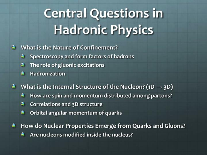 Central questions in hadronic physics