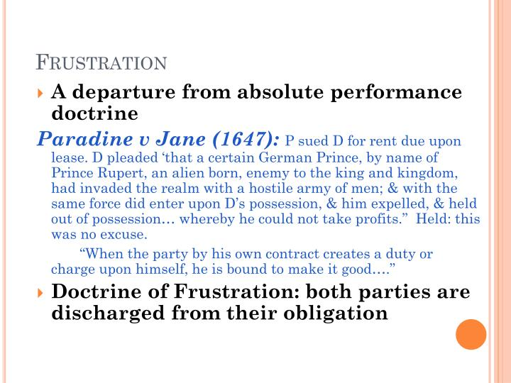 doctrine of impossibility in contracts In contract law, impossibility is an excuse for the nonperformance of duties under a contract, based on a change in circumstances (or the discovery of preexisting circumstances), the nonoccurrence of which was an underlying assumption of the contract, that makes performance of the contract literally impossible.