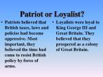 patriot or loyalist