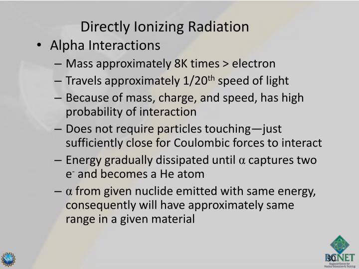 Directly Ionizing Radiation