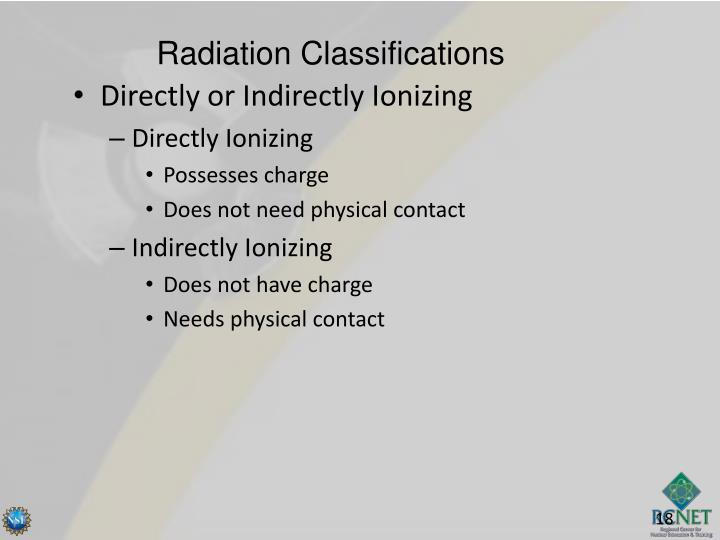 Radiation Classifications