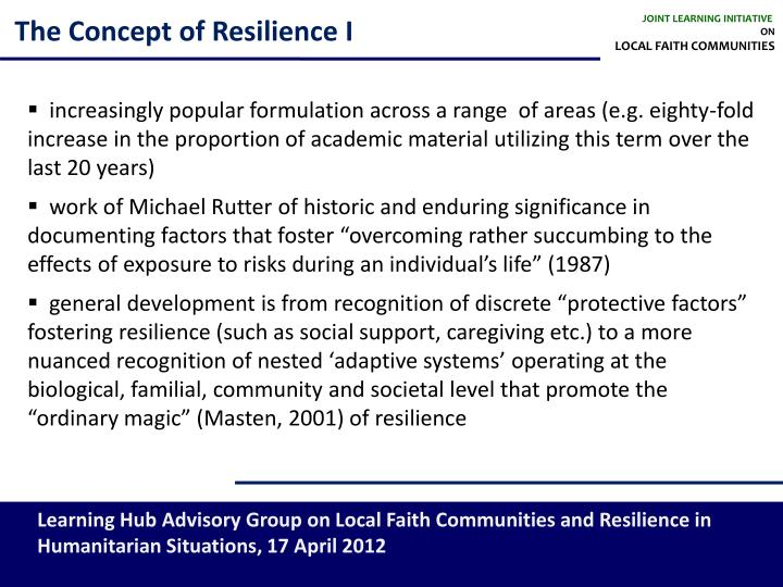 The concept of resilience i