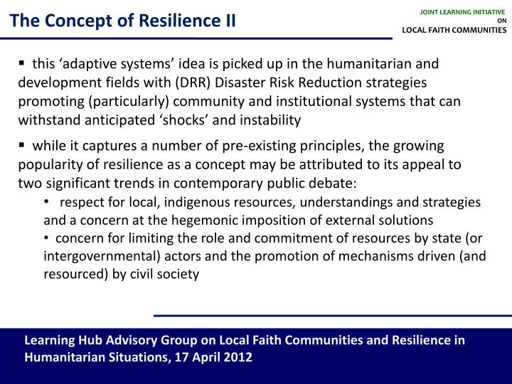 The concept of resilience ii