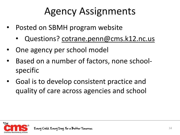 Agency Assignments