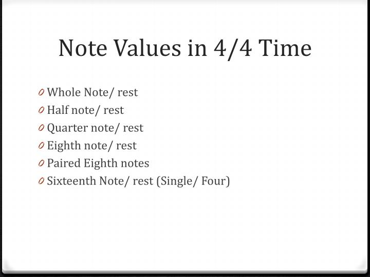 Note Values in 4/4 Time