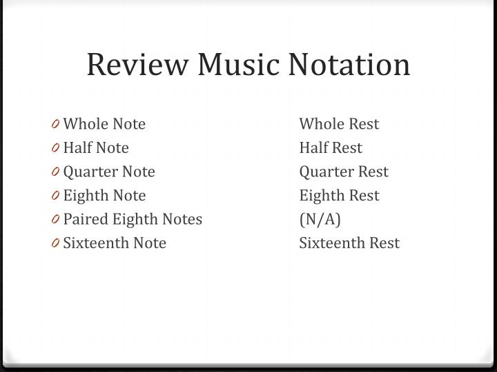 Review Music Notation