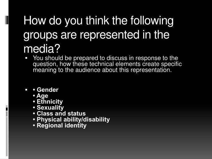 How do you think the following groups are represented in the media?