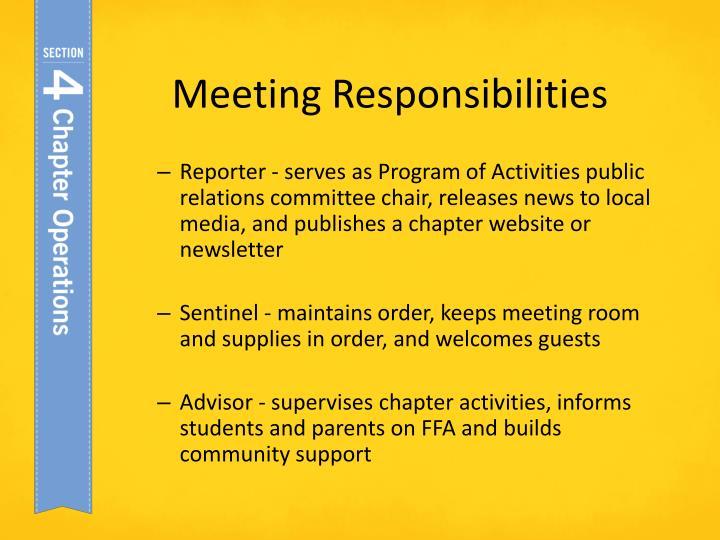 Meeting Responsibilities