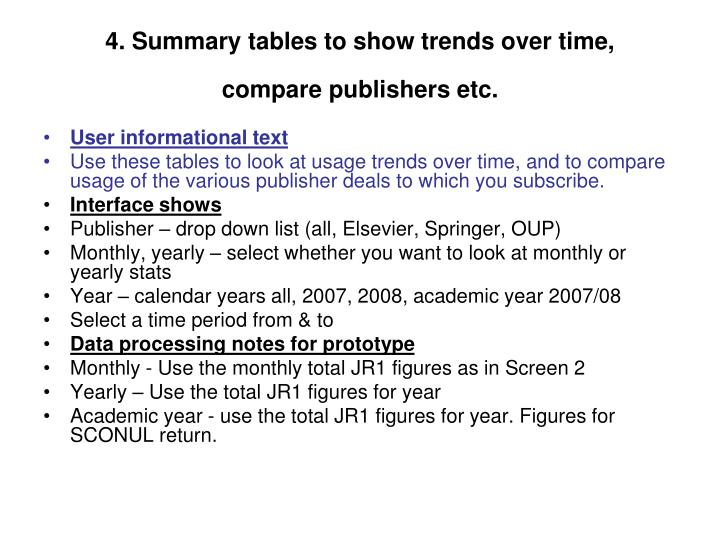 4. Summary tables to show trends over time,