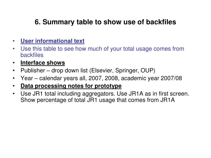 6. Summary table to show use of backfiles