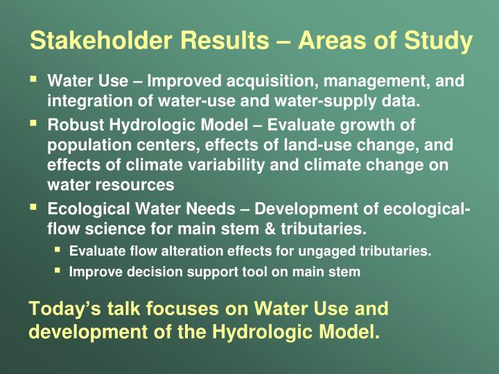 Stakeholder Results – Areas of Study