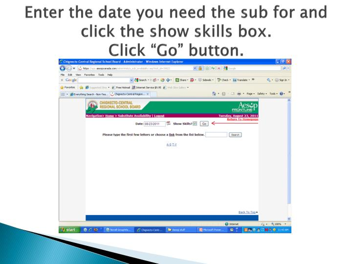 Enter the date you need the sub for and click the show skills box.