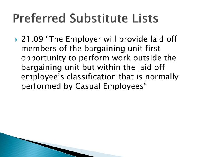Preferred substitute lists
