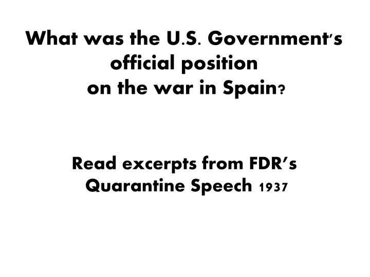 What was the U.S. Government's