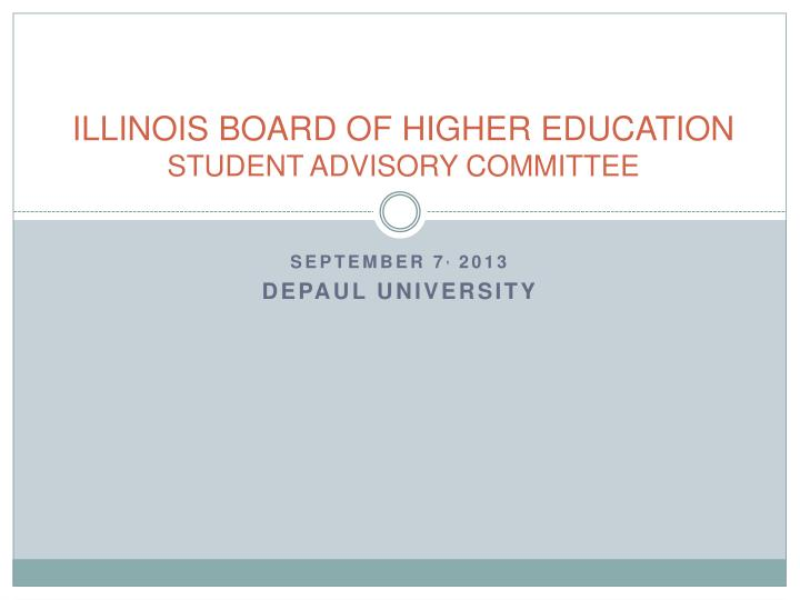 illinois board of higher education student advisory committee n.