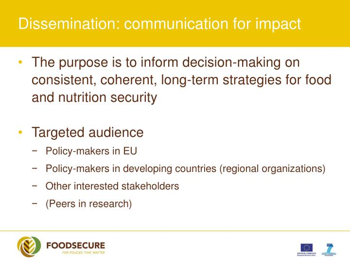 Dissemination: communication for impact