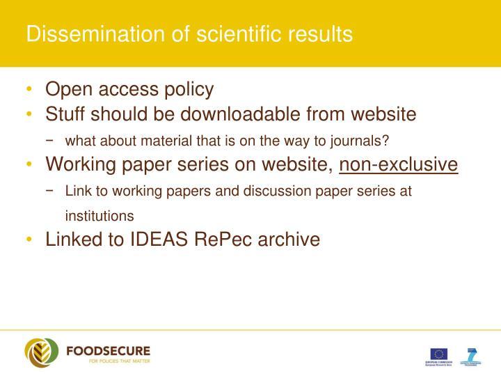 Dissemination of scientific results
